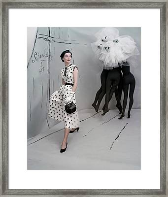 A Model In A Mollie Parnis Dress Framed Print by Horst P. Horst