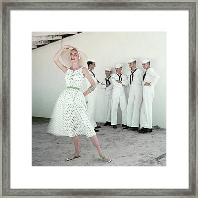 A Model In A Polka Dot Dress Framed Print by  Leombruno-Bodi