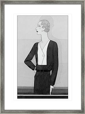 A Model In A Schiaparelli Suit Framed Print by Douglas Pollard