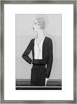 A Model In A Schiaparelli Suit Framed Print