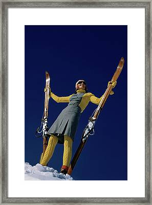 A Model In A Ski Suit Framed Print by Toni Frissell