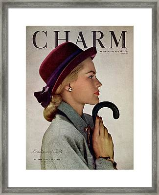 A Model In A Vic-deb Derby Hat Framed Print by Hal Reiff