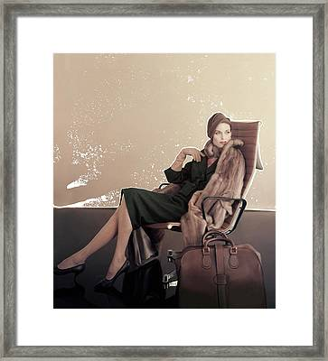 A Model In An Eames Chair Framed Print by Karen Radkai