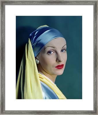 A Model In The Style Of Johannes Vermeer's Girl Framed Print by Erwin Blumenfeld