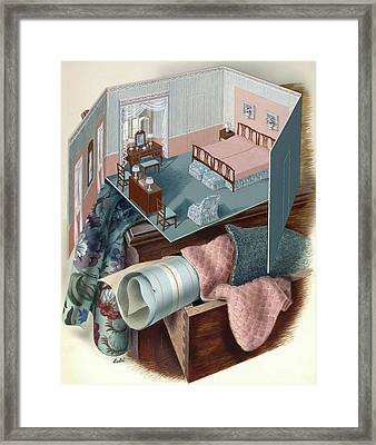 A Model Of A Bedroom On Top Of A Set Of Drawers Framed Print by Victor Bobritsky
