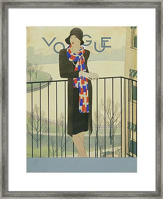 A Model On A Balcony Framed Print by Pierre Mourgue