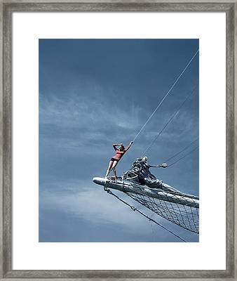 A Model On A Ship Framed Print by Toni Frissell
