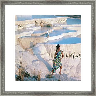 A Model On The Cliffs Of Pamukkale Framed Print