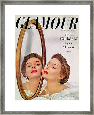 A Model Posing Against A Mirror Framed Print