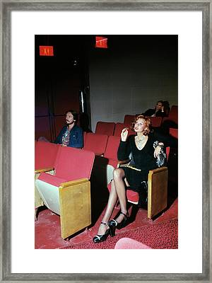 A Model Posing In Murray Hill Theatre In New York Framed Print