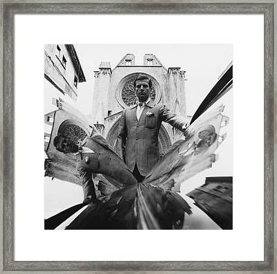 A Model Standing In Front Of A Cathedral Framed Print