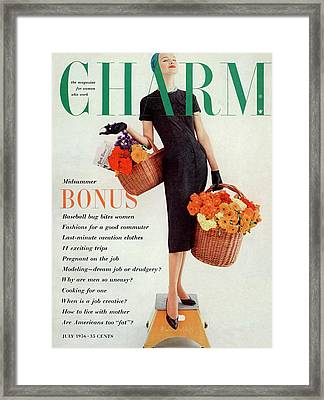 A Model Standing On A Pullman Stool Framed Print