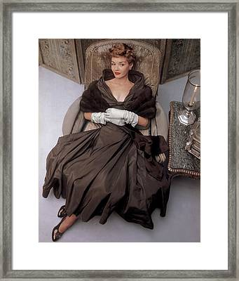 A Model Wearing A 1940s Style Evening Gown Framed Print