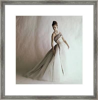 A Model Wearing A Balmain Dress Framed Print