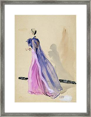 A Model Wearing A Blue Cape And Pink Chiffon Framed Print by Ren? Bou?t-Willaumez