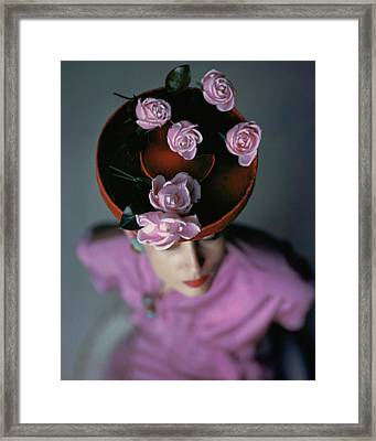 A Model Wearing A Bonwit Teller Hat Framed Print