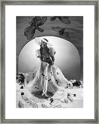 A Model Wearing A Bridesmaid Dress Framed Print