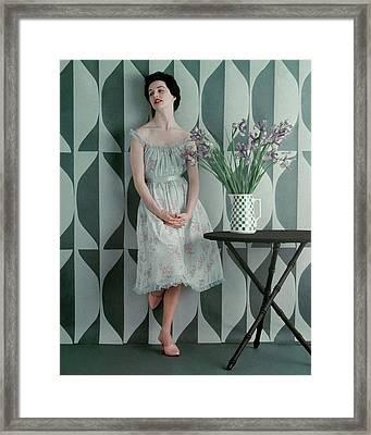 A Model Wearing A Carter Dress Framed Print by Richard Rutledge