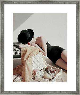 A Model Wearing A Catalina Maillot Framed Print by Leombruno-Bodi