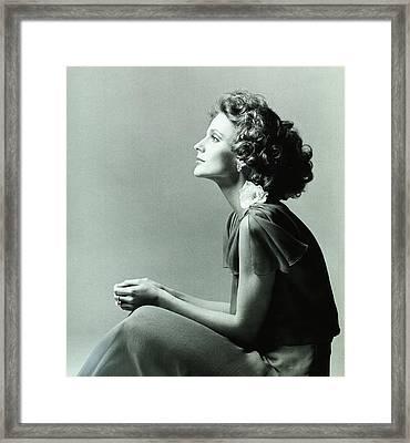 A Model Wearing A Chiffon Dress Framed Print by Francesco Scavullo