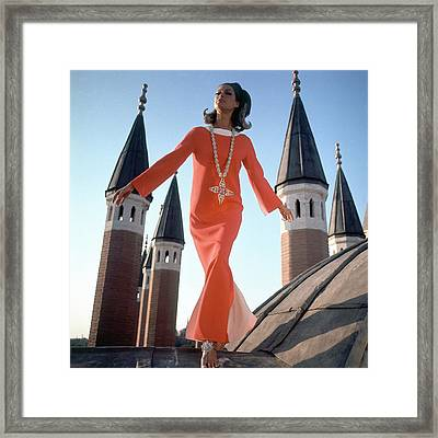 A Model Wearing A Christian Dior Dress Framed Print by Henry Clarke