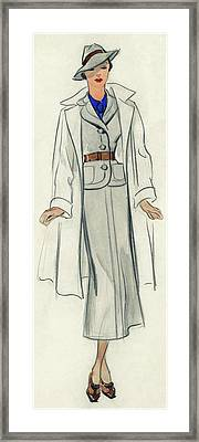 A Model Wearing A Coat And Suit Framed Print