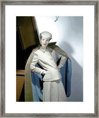 A Model Wearing A Corduroy Suit Framed Print by Horst P. Horst
