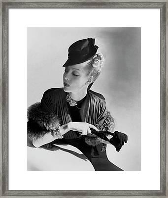 A Model Wearing A Crepe Dress Framed Print by Horst P. Horst