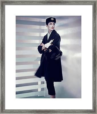 A Model Wearing A Designer Coat Framed Print by Horst P. Horst