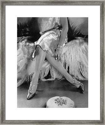 A Model Wearing A Dress And Perugia Shoes Framed Print
