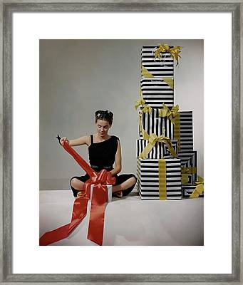 A Model Wearing A Dress By Margot Framed Print by Clifford Coffin