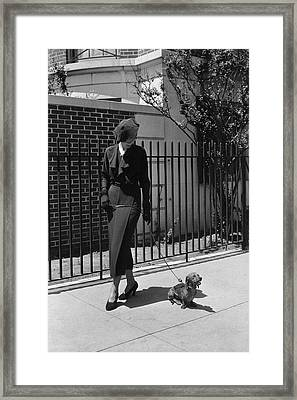 A Model Wearing A Dress Walking A Dog Framed Print by Lusha Nelson