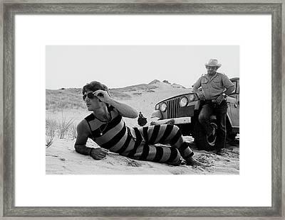 A Model Wearing A Drummond Tank-suit Framed Print by Mark Patiky