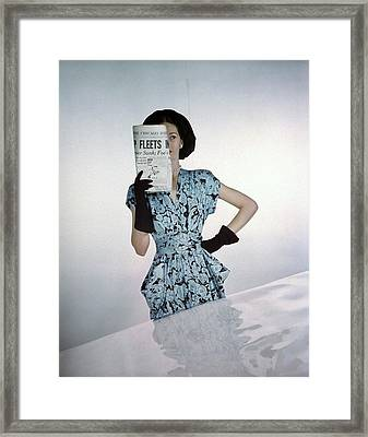 A Model Wearing A Floral Blue Dress Framed Print by Constantin Joff?