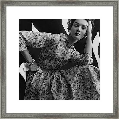 A Model Wearing A Floral Dress Framed Print