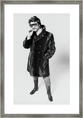 A Model Wearing A Fur Coat Framed Print by Peter Levy