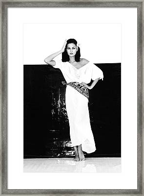 A Model Wearing A Gauze Shirt And Pants Framed Print by Albert Watson