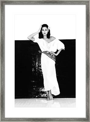A Model Wearing A Gauze Shirt And Pants Framed Print