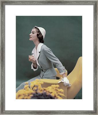 A Model Wearing A George Carmel Suit Framed Print by Karen Radkai