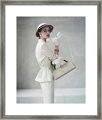 A Model Wearing A Handmacher Suit Framed Print by Francesco Scavullo