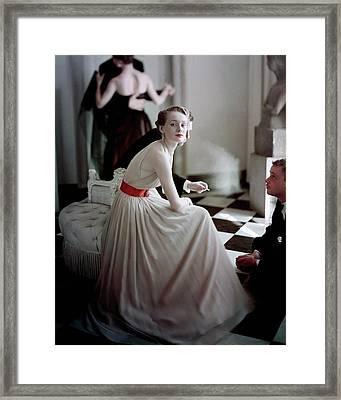 A Model Wearing A Harry Keiser Dress Framed Print by Frances Mclaughlin-Gill