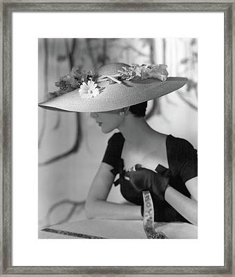 A Model Wearing A Hattie Carnegie Hat Framed Print
