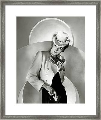 A Model Wearing A Jacket And Hat Framed Print by Horst P. Horst