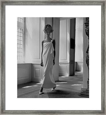 A Model Wearing A Jean Louis Gown Framed Print