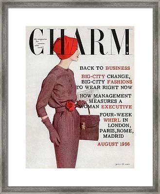 A Model Wearing A Jerry Gilden Dress Framed Print by Louis Faurer