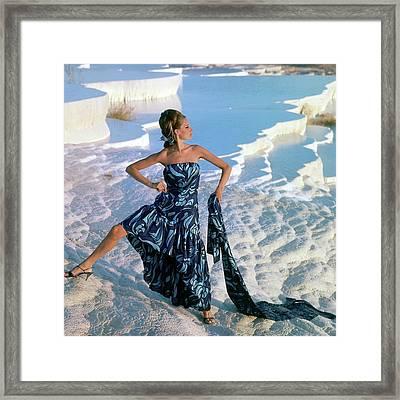 A Model Wearing A Jobere Dress Framed Print