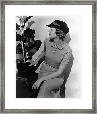 A Model Wearing A Knit Dress Framed Print