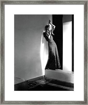 A Model Wearing A Lame Dress Framed Print by Horst P. Horst