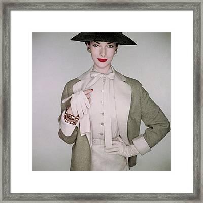 A Model Wearing A Linen Blouse Framed Print