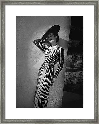 A Model Wearing A Lucien Lelong Dress Boucheron Framed Print
